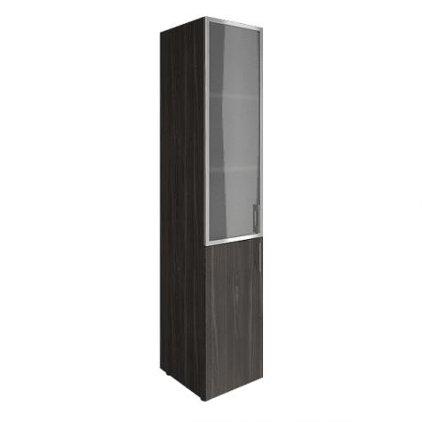 Шкаф узкий (3 полки под стеклом в раме), цвет темный дуб
