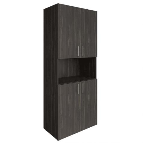 Шкаф высокий с нишей, цвет темное дерево