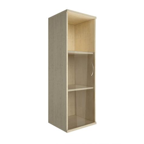 Шкаф средний узкий со стеклом и полкой левый, цвет клен
