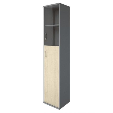 Шкаф высокий узкий (2 полки под стеклом) правый, цвет клен металлик