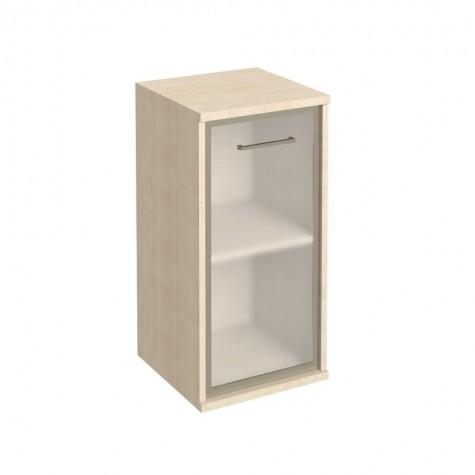 Шкаф узкий низкий со стеклом в раме, цвет клен