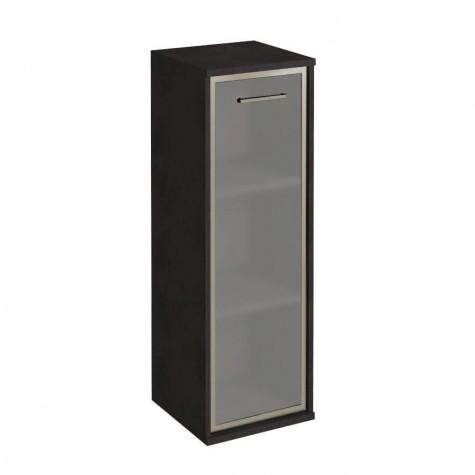 Шкаф узкий средний со стеклом в раме, цвет венге