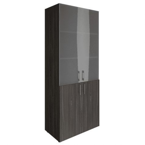 Шкаф высокий (3 полки под стеклом), цвет темный дуб