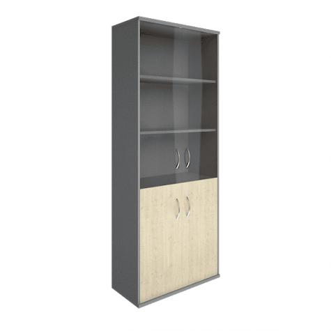 Шкаф комбинированный (3 полки под стеклом), цвет клен металлик