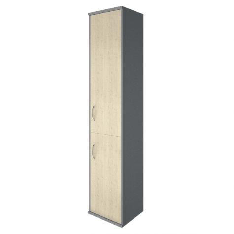 Шкаф высокий узкий 2 двери (вариант 1) правый, цвет клен металлик