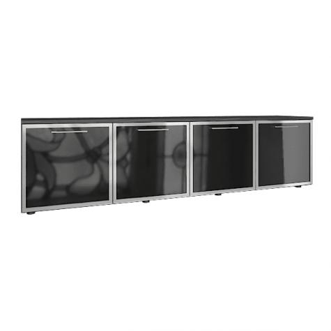 Греденция (4 стеклянные двери), цвет темное дерево