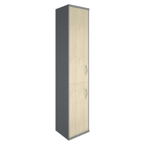 Шкаф высокий узкий 2 двери (вариант 1) левый, цвет клен металлик