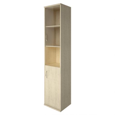 Шкаф высокий узкий со стеклом и нишей правый, цвет клен