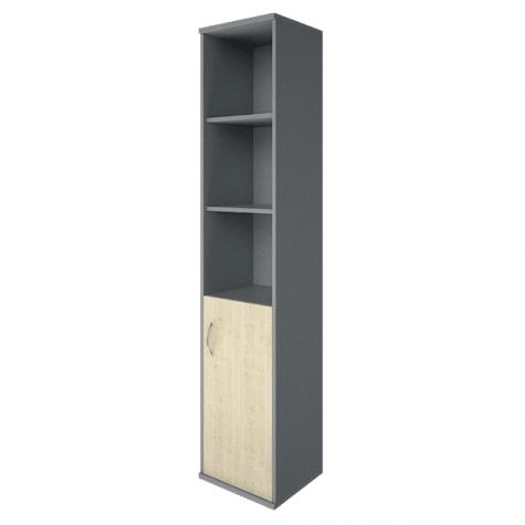 Шкаф высокий узкий 3 полки правый, цвет клен металлик
