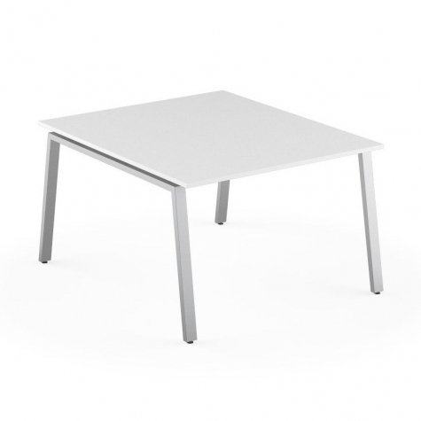 Стол на 2 рабочих места, цвет белый + алюминий