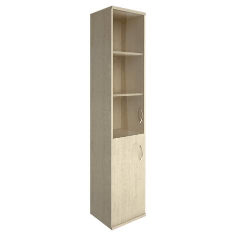 Шкаф высокий узкий (3 полки под стеклом) левый, цвет клен