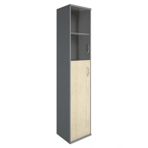 Шкаф высокий узкий (2 полки под стеклом) левый, цвет клен металлик