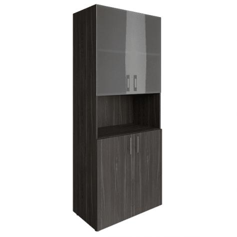 Шкаф высокий с нишей (2 полки под стеклом), цвет темный дуб