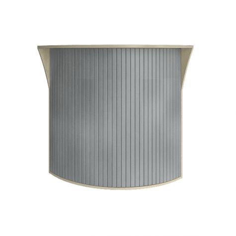 Ресепшн с угловыми элементами с пластиковой вставкой (имитация металла), цвет клен