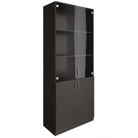 Шкаф для документов (3 полки под стеклом), цвет венге