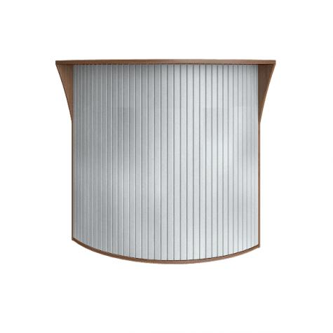Ресепшн с угловыми элементами с пластиковой вставкой (имитация металла), цвет орех