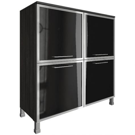 Шкаф квадратный со стеклом в раме, цвет темный дуб