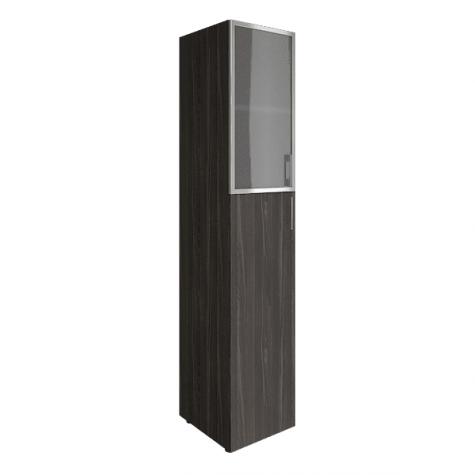 Шкаф узкий (2 полки под стеклом в раме), цвет темный дуб