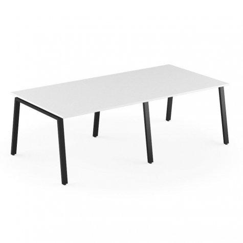 Стол на 4 рабочих места, цвет белый + черный