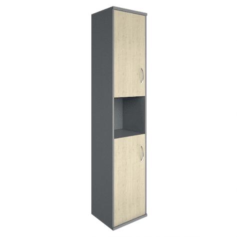 Шкаф высокий узкий с нишей левый, цвет клен металлик
