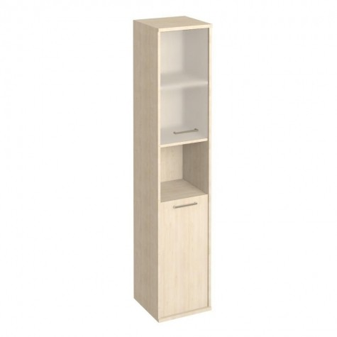 Шкаф узкий с матовым стеклом и нишей, цвет клен