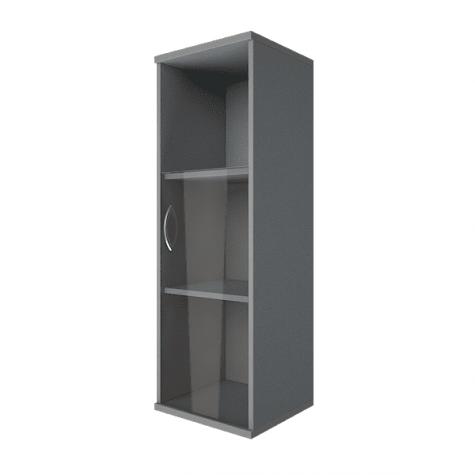 Шкаф средний узкий со стеклом и полкой правый, цвет металлик