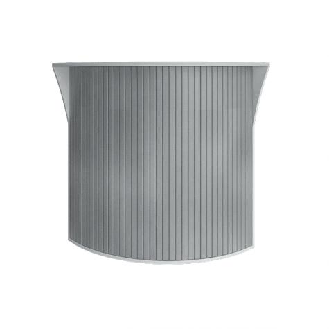 Ресепшн с угловыми элементами с пластиковой вставкой (имитация металла), цвет белый