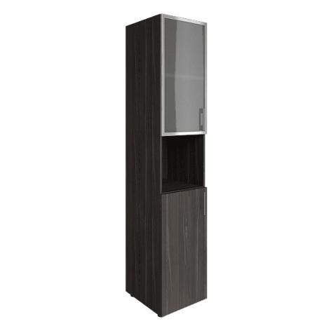 Шкаф узкий с нишей (2 полки под стеклом в раме), цвет темный дуб