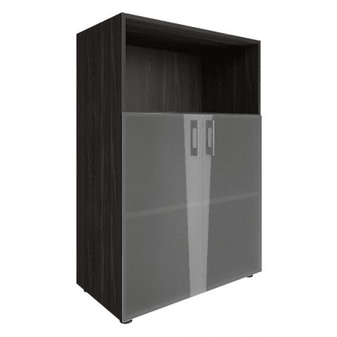 Шкаф средний со стеклом (1 открытая полка), цвет темный дуб