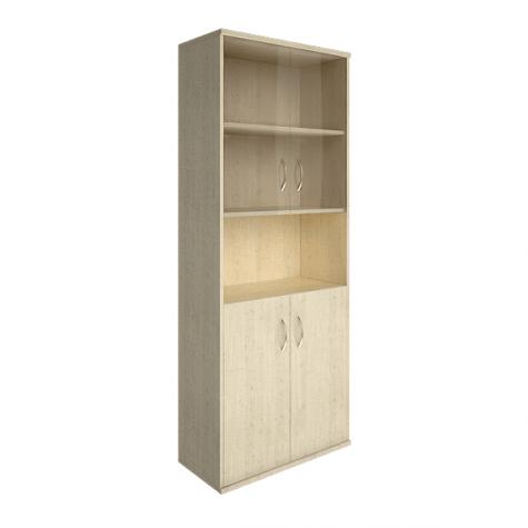 Шкаф комбинированный со стеклом и нишей, цвет клен