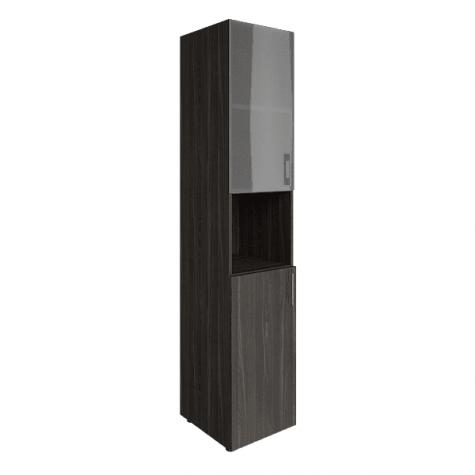Шкаф узкий с нишей (2 полки под стеклом), цвет темный дуб