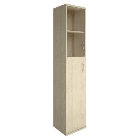 Шкаф высокий узкий (2 полки под стеклом) левый, цвет клен
