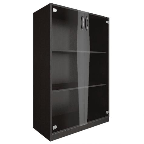 Шкаф средний со стеклом, цвет венге