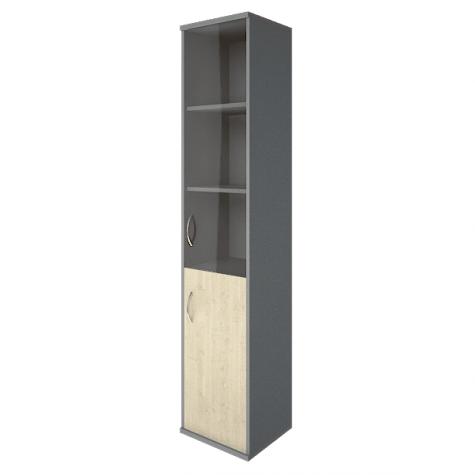 Шкаф высокий узкий со стеклом и нишей правый, цвет клен металлик