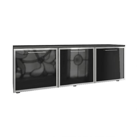 Греденция (3 стеклянные двери), цвет темное дерево