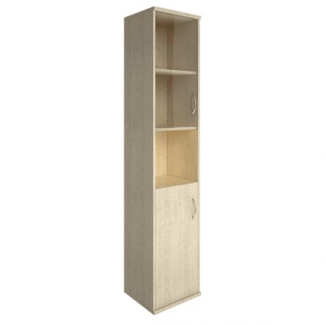 Шкаф высокий узкий со стеклом и нишей левый, цвет клен