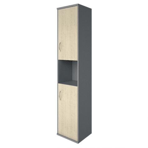 Шкаф высокий узкий с нишей правый, цвет клен металлик