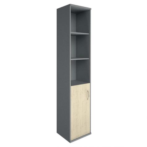 Шкаф высокий узкий 3 полки левый, цвет клен металлик