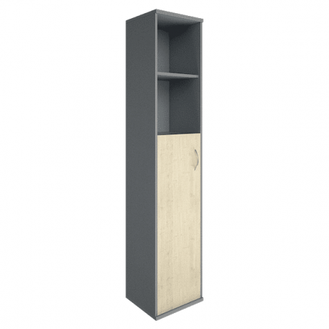 Шкаф высокий узкий 2 полки левый, цвет клен металлик