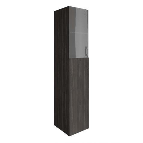 Шкаф узкий (2 полки под стеклом), цвет темное дерево