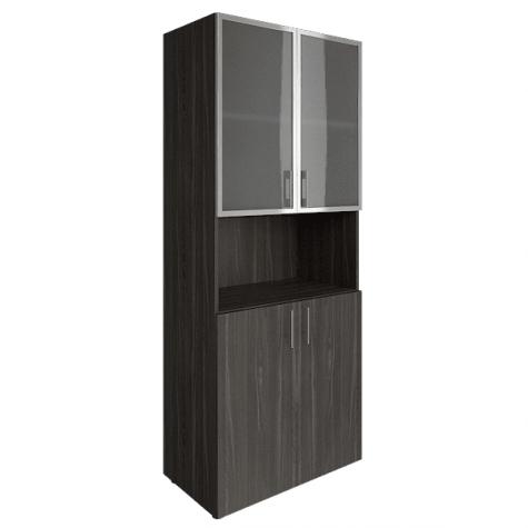 Шкаф с нишей (2 полки под стеклом в раме), цвет темный дуб