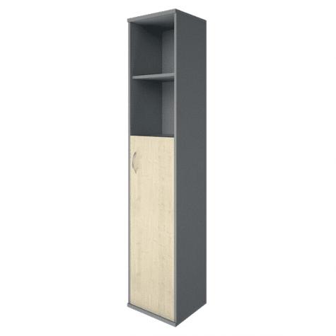 Шкаф высокий узкий 2 полки правый, цвет клен металлик