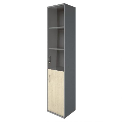 Шкаф высокий узкий (3 полки под стеклом) правый, цвет клен металлик