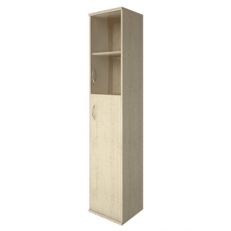 Шкаф высокий узкий (2 полки под стеклом) правый, цвет клен