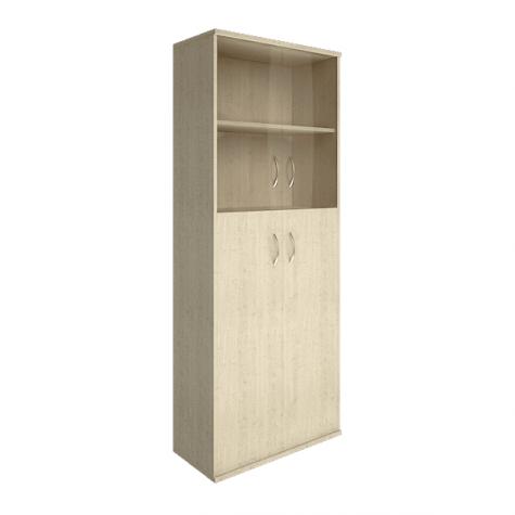 Шкаф комбинированный (2 полки под стеклом), цвет клен