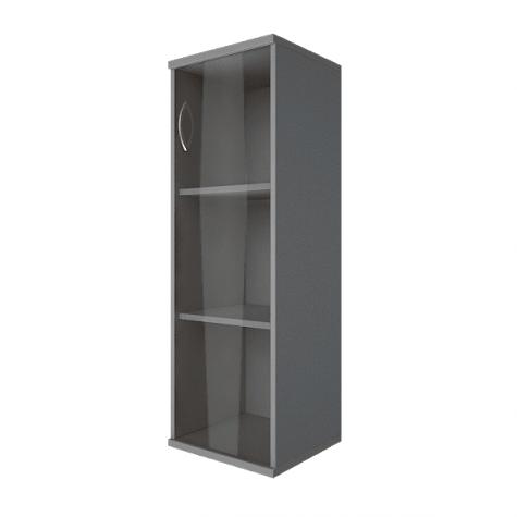 Шкаф средний узкий со стеклом правый, цвет металлик