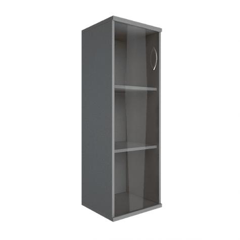 Шкаф средний узкий со стеклом левый, цвет металлик