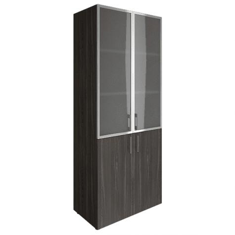 Шкаф высокий (3 полки под стеклом в раме), цвет темный дуб