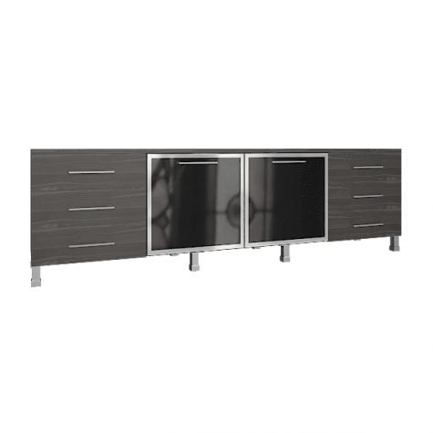 Греденция (6 ящиков и 2 стеклянные двери), цвет темный дуб