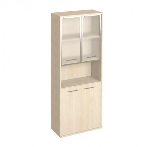 Шкаф со стеклом в раме и нишей, цвет клен